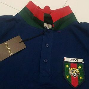 59992aaff gucci Shirts | Polo Shirt Tiger Stripe Blue Red | Poshmark